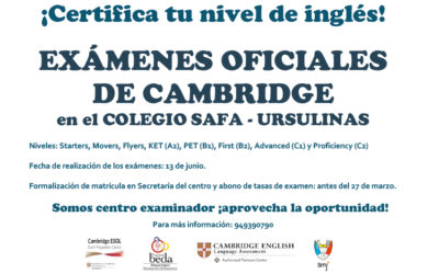 Exámenes oficiales de Cambridge en el colegio SAFA-Ursulinas
