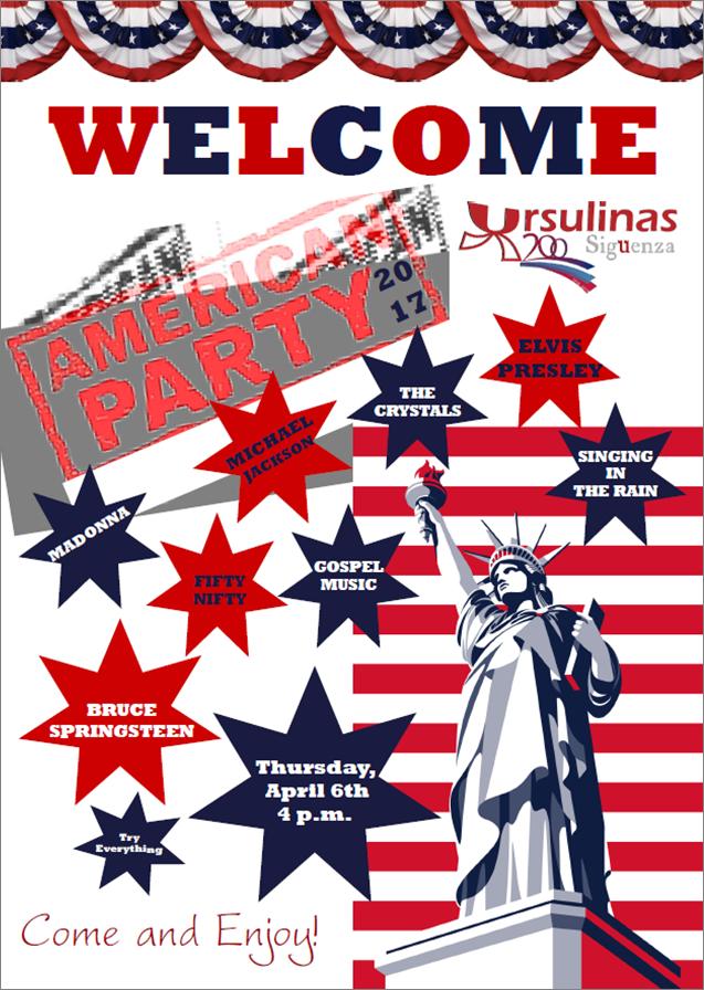 Cartel english party Colegio SAFA Sigüenza
