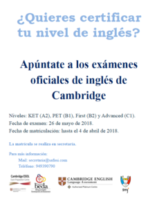 cartel examenes cambridge