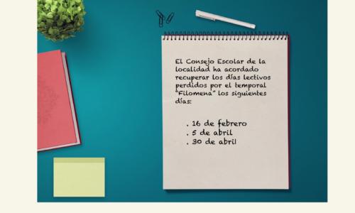 """Recuperación días lectivos perdidos por """"Filomena"""""""