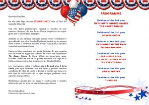 Programme english party Colegio SAFA Sigüenza